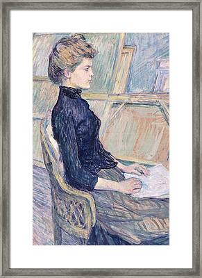 Model In Study  Framed Print by Henri de Toulouse Lautrec