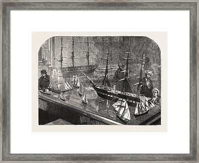 Model Of A Fleet Of Vessels On The Philadelphia Exhibition Framed Print