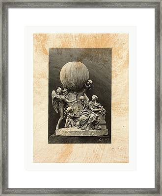 Model Of A Statue Dedicated To French Balloonists Framed Print by English School