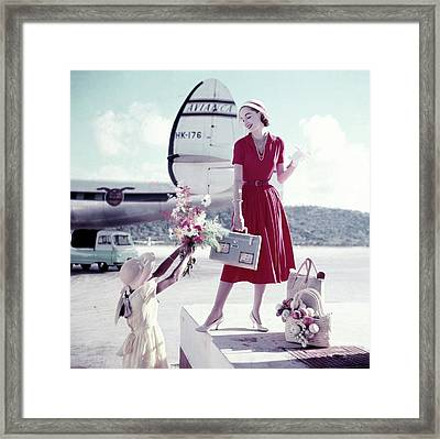 Model Romaine Simenson Stands On A Platform Framed Print