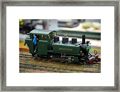 Model Train Green Steam Railway Engine With Driver In Cab Framed Print
