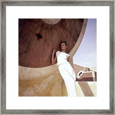 Model Veruschka Wearing A Two-piece Dress Framed Print
