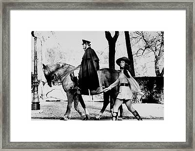 Model Walks Along With A Horse In The Piazza Di Framed Print