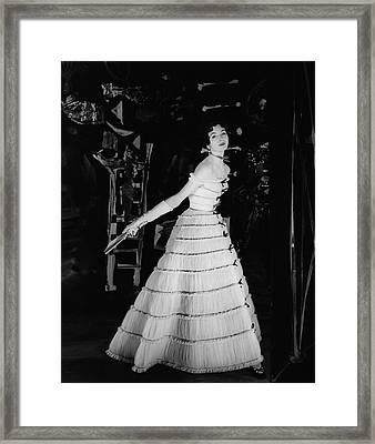 Model Wearing A Balmain Dress Framed Print