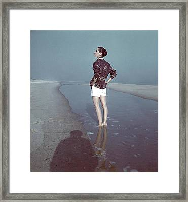 Model Wearing A Batik Shirt On A Beach Framed Print