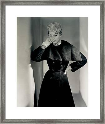 Model Wearing A Ben Gershel Coat Framed Print