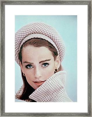 Model Wearing A Beret And Matching Coat Framed Print