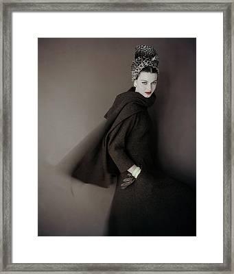 Model Wearing A Brown Tweed Dress Framed Print