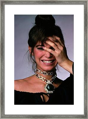 Model Wearing A Bulgari Necklace Framed Print by Gianni Penati