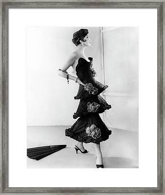 Model Wearing A Chanel Dress Framed Print