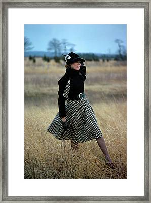 Model Wearing A Checked Skirt In A Field Framed Print