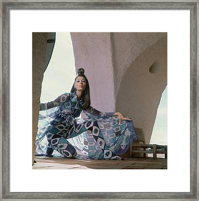 Model Wearing A Chiffon Voile Coat Framed Print