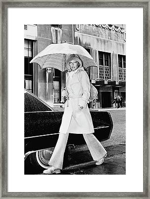 Model Wearing A Christian Aujard Trench Coat Framed Print