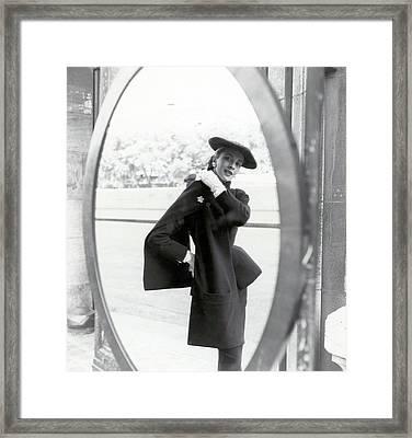 Model Wearing A Christian Dior Suit Framed Print