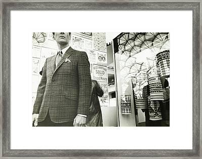 Model Wearing A Clinton Swan Blazer Framed Print by Leonard Nones