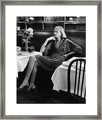 Model Wearing A Concept Vii Dress In La Goulue Framed Print