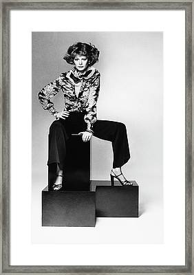 Model Wearing A Floral Shirt Framed Print
