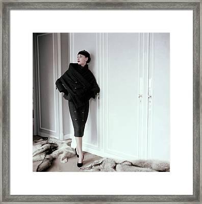 Model Wearing A Gray Tweed Sheath Dress By Dior Framed Print
