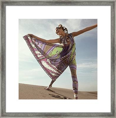 Model Wearing A Green And Purple Print Dress Framed Print