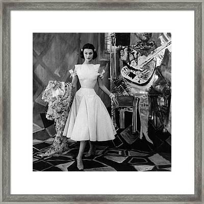 Model Wearing A Gres Dress Framed Print