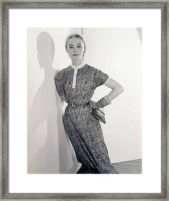 Model Wearing A Greta Plattry Dress Framed Print