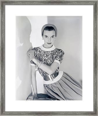 Model Wearing A Greta Plattry Sweater And Skirt Framed Print