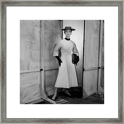 Model Wearing A Griffe Coat Framed Print