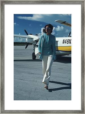 Model Wearing A Kimberly Ensemble On A Runway Framed Print