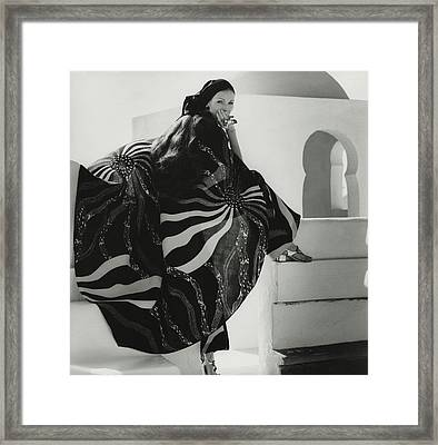 Model Wearing A Lino Cape Framed Print