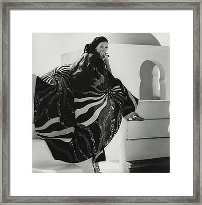 Model Wearing A Lino Cape Framed Print