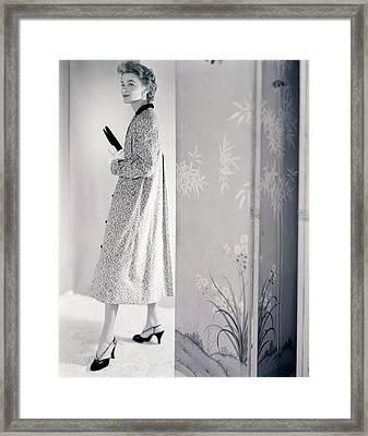 Model Wearing A Loomtogs Coat Framed Print by Horst P. Horst