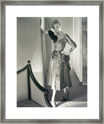 Model Wearing A Mollie Parnis Dress Framed Print