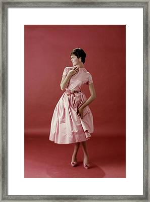 Model Wearing A Pink Satin Dress Framed Print