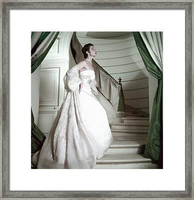 Model Wearing A Pink Strapless Gown From Dior Framed Print