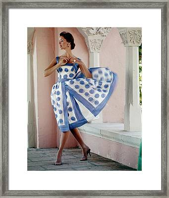 Model Wearing A Polka Dot Dress Framed Print