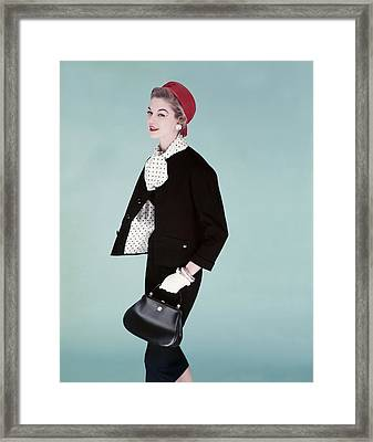 Model Wearing A Red Cap Framed Print