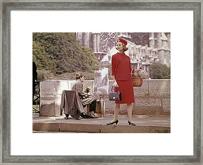 Model Wearing A Red Outfit With The Notre-dame De Framed Print