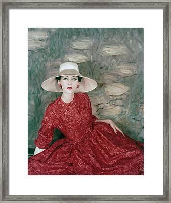 Model Wearing A Red Silk Dress Framed Print