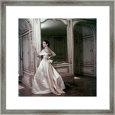Model Wearing A Satin Evening Dress By Griffe Framed Print