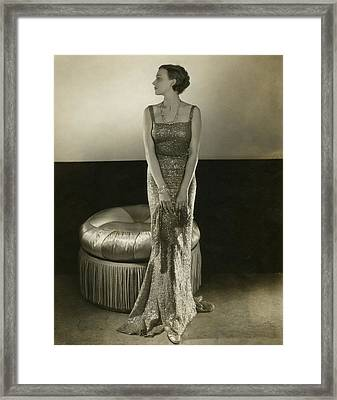 Model Wearing A Sequin Gown Framed Print