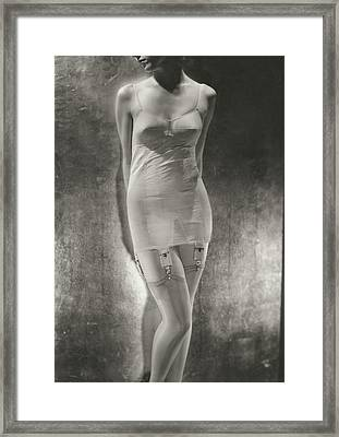 Model Wearing A Silk Corset Framed Print