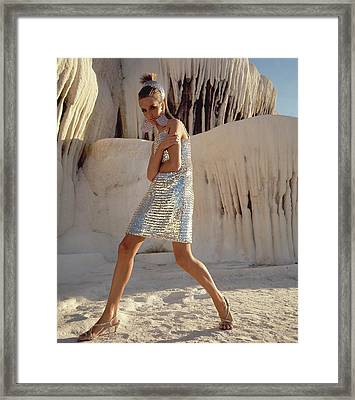 Model Wearing A Silver Sequined Dress By Joan Framed Print