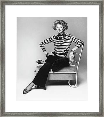Model Wearing A Striped Blouse Framed Print