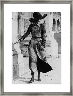 Model Wearing A Valentino Coat Framed Print