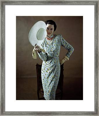 Model Wearing A Vogue Pattern Dress Framed Print