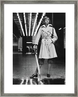 Model Wearing A Weatherbee Trench Coat Framed Print