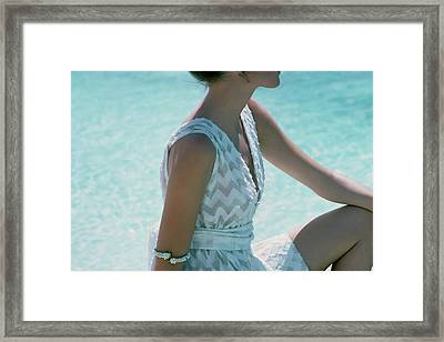 Model Wearing A White Cover-up Framed Print
