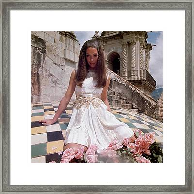 Model Wearing A White Dress By Mollie Parnis Framed Print