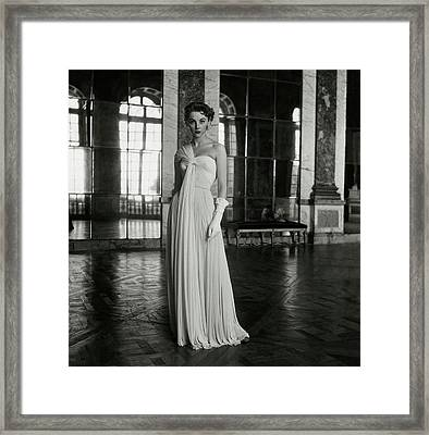 Model Wearing A White Gown At Fontainebleau Framed Print