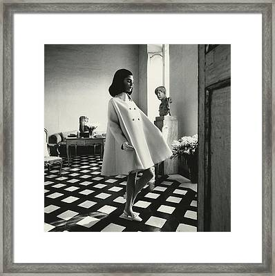 Model Wearing A Wool Gabardine Fabiani Tent-coat Framed Print
